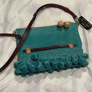 Consuela Leather Crossbody Bag with Ball Fringe